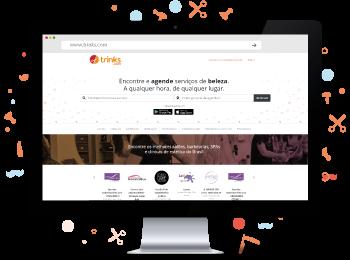 Computador e site salão de beleza